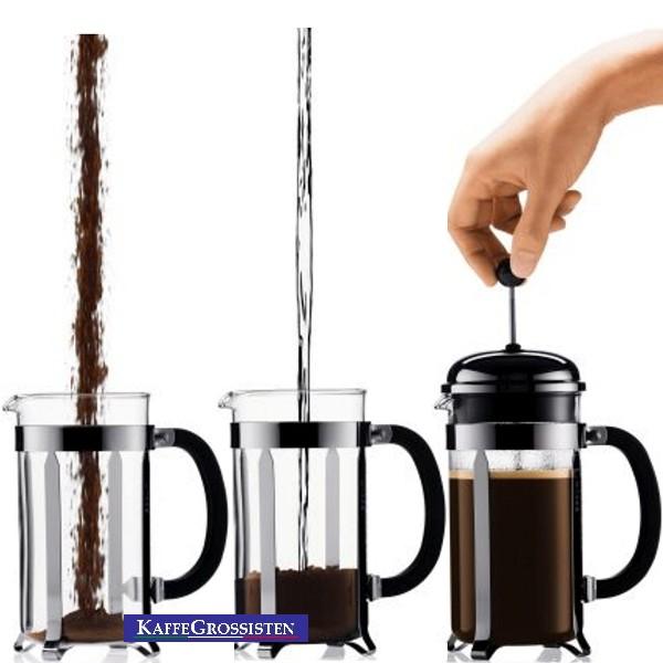 hur gör man kaffe i en kaffepress
